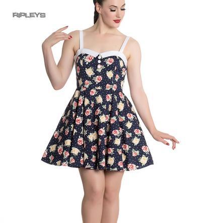 Hell Bunny Navy Blue Floral Roses Flowers Mini Dress EMMA Polka Dot All Sizes