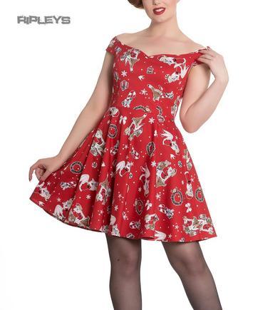 Hell Bunny Rockabilly Festive Noel Christmas Mini Dress BLITZEN Red All Sizes