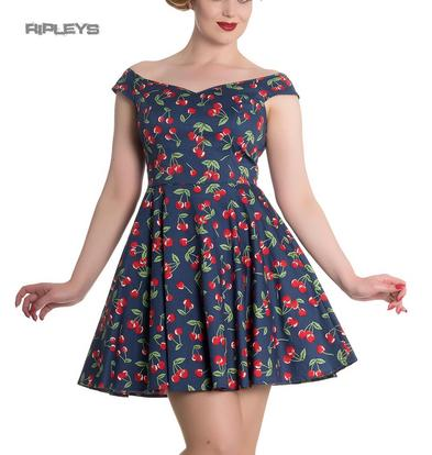 Hell Bunny 50s Rockabilly Retro Pin Up Mini Dress APRIL Cherry Blue All Sizes