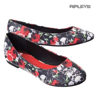 BANNED Dolly Ballerina Shoes SKULLS & ROSES Flats Pumps Goth Ella All Sizes
