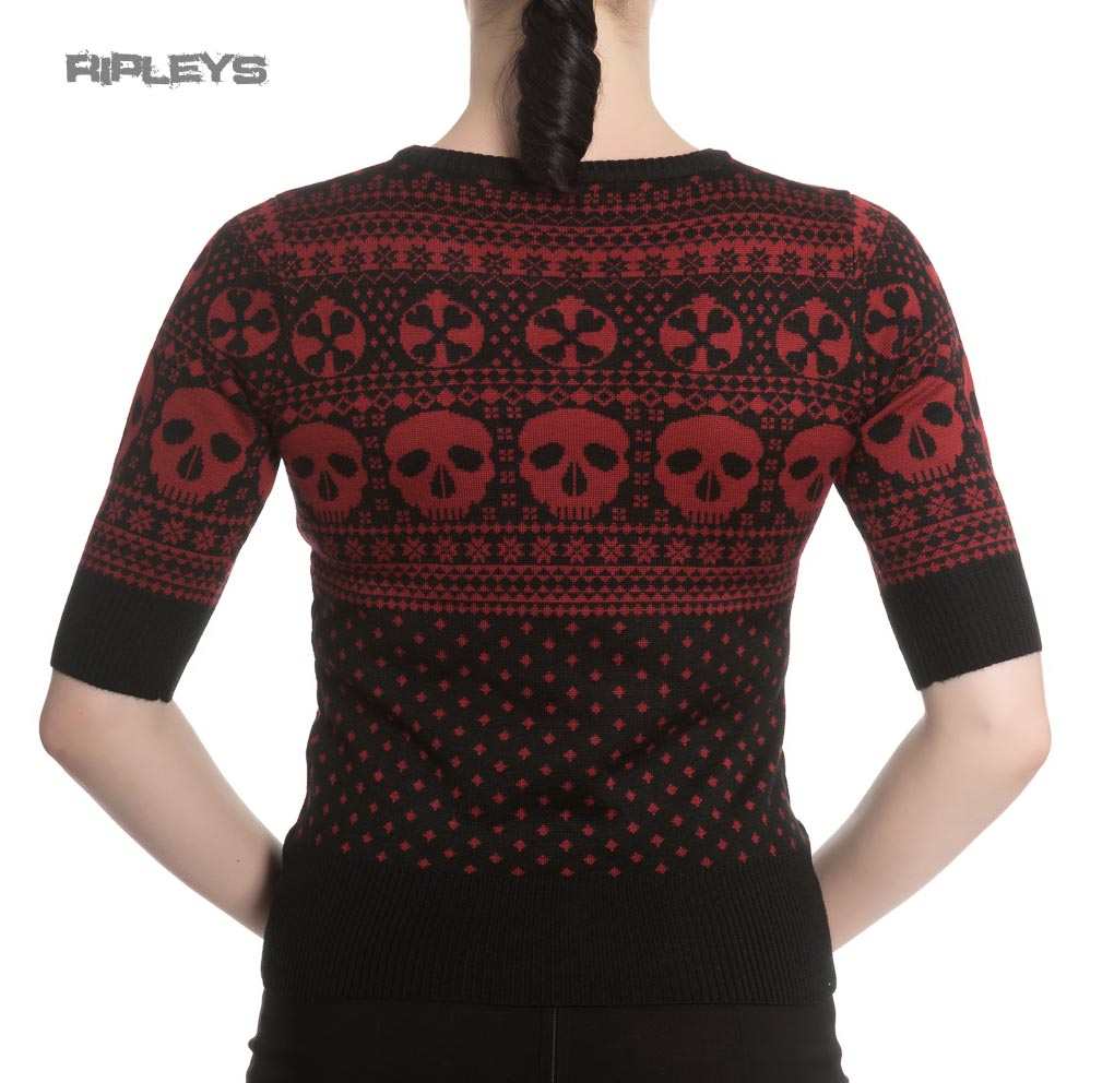 Hell Bunny Winter Christmas Skull Jumper YULE Snowflake Black Red All Sizes