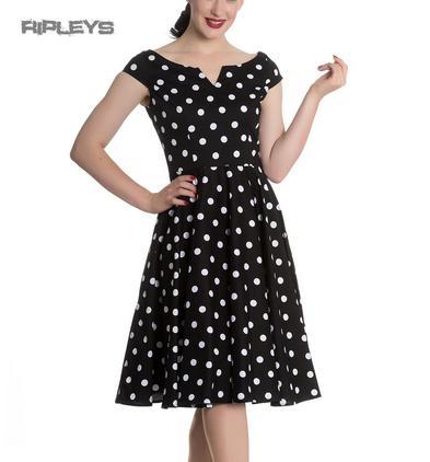Hell Bunny 50s Dress Polka Dot NICKY Pin Up Rockabilly Black All Sizes