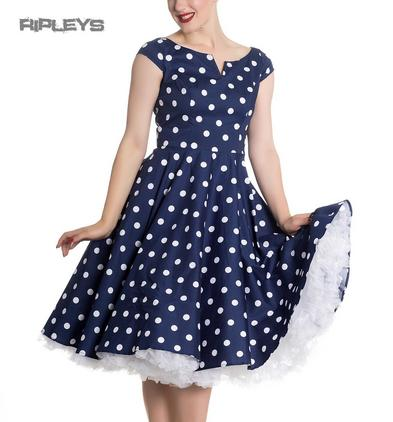 Hell Bunny 50s Dress Polka Dot NICKY Pin Up Rockabilly Navy Blue All Sizes