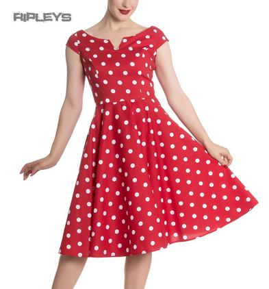 Hell Bunny 50s Dress Polka Dot NICKY Pin Up Rockabilly White Red All Sizes