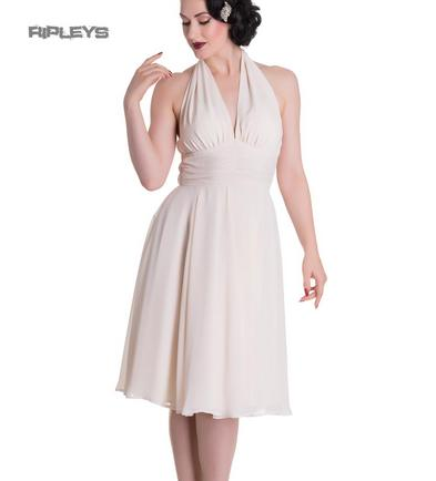 Hell Bunny Pinup Party Cocktail 50s Dress Marilyn MONROE Vintage Cream All Sizes