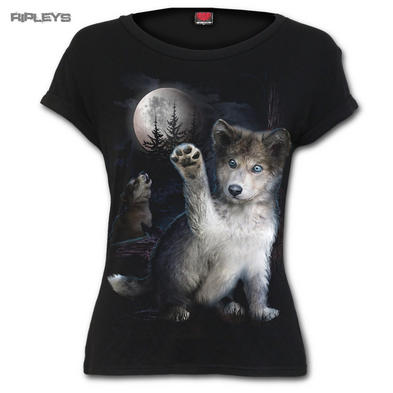 SPIRAL DIRECT Ladies Black Goth Moon WOLF PUPPY T Shirt Top All Sizes