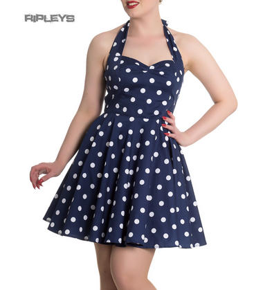 Hell Bunny Retro Rockabilly Mini Dress NICKY Polka Dot Navy Blue All Sizes
