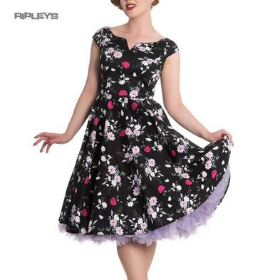 Hell Bunny 50s Dress Floral BELINDA Rockabilly Pin Up Black All Sizes