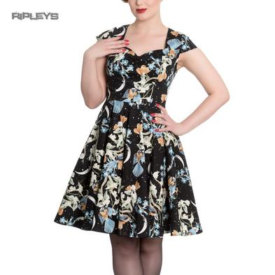 Hell Bunny Rockabilly Pin Up Mid Length Dress MOONLIGHT Blue Flowers All Sizes