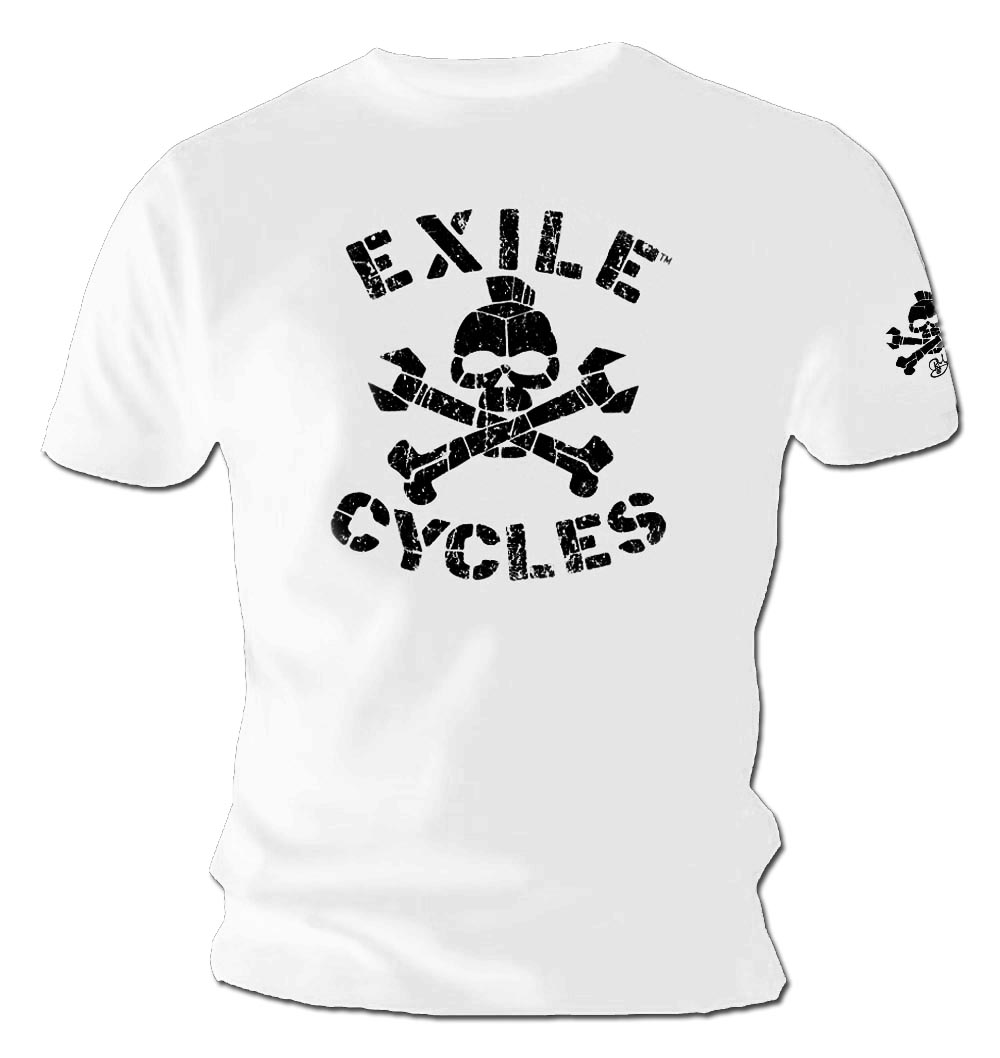 Official T Shirt EXILE CYCLES Custom Motorcycle Chopper MENACE White All Sizes
