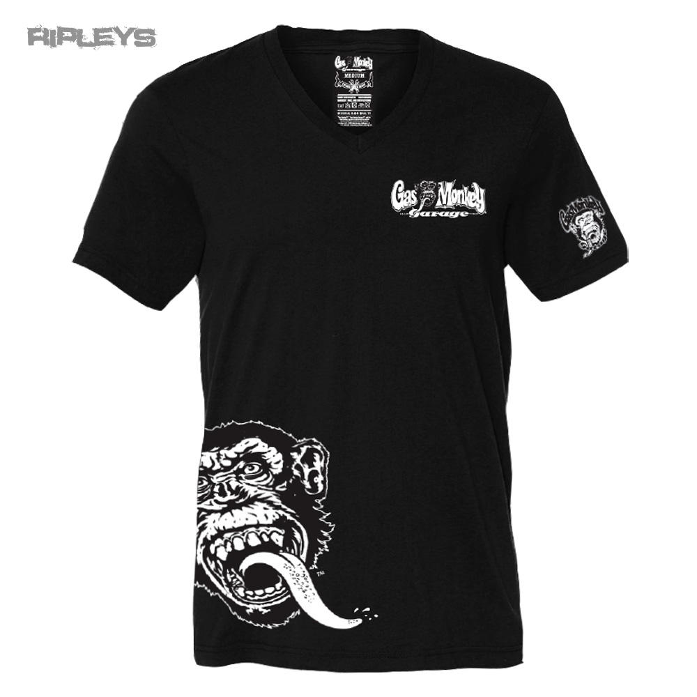 Official gmg t shirt gas monkey garage v neck side monkey for T shirt with logo