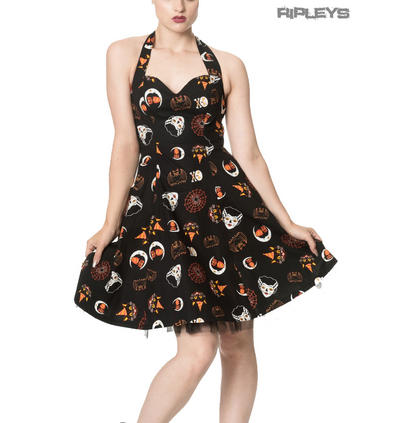 Banned Clothing Mini Gothic Dress THE HAUNTED Halloween Bats All Sizes