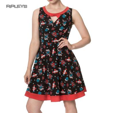 Banned Clothing Skater Dress REGRET NOTHING Rockabilly Tattoo All Sizes