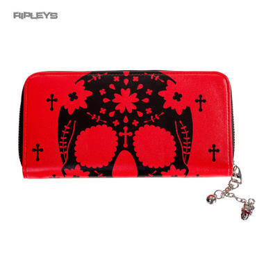 BANNED Clothing Wallet Purse HEAD RUSH Red Skull Cross Goth