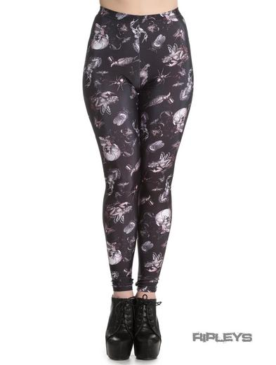 HELL BUNNY Black Goth Grunge Leggings TAXIDERMY Witch Skulls Animals All Sizes