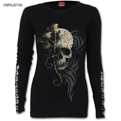SPIRAL DIRECT Ladies Black Goth DARK ANGEL Skull Buckle L/Sleeve All Sizes