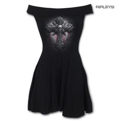 SPIRAL DIRECT Ladies Black Goth CRUCIFIX Bardot Skater Mini Dress All Sizes
