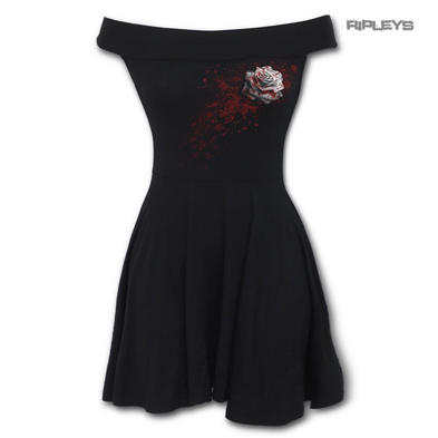 SPIRAL DIRECT Ladies Black Goth WHITE ROSE Bardot Skater Mini Dress All Sizes