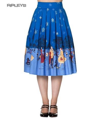 BANNED 50s Retro Winter Blue Skirt ROMANCE LIVES Rockabilly All Sizes