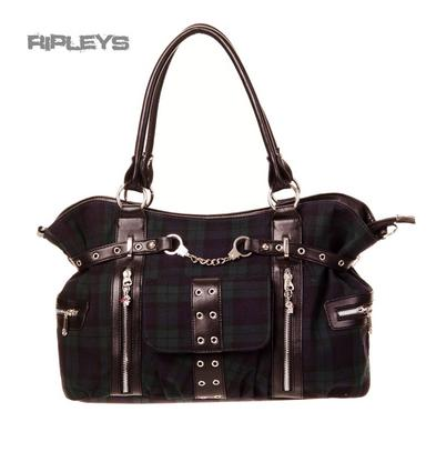 BANNED Clothing Punk Large TARTAN Handcuff Handbag Bag Goth Green Blue