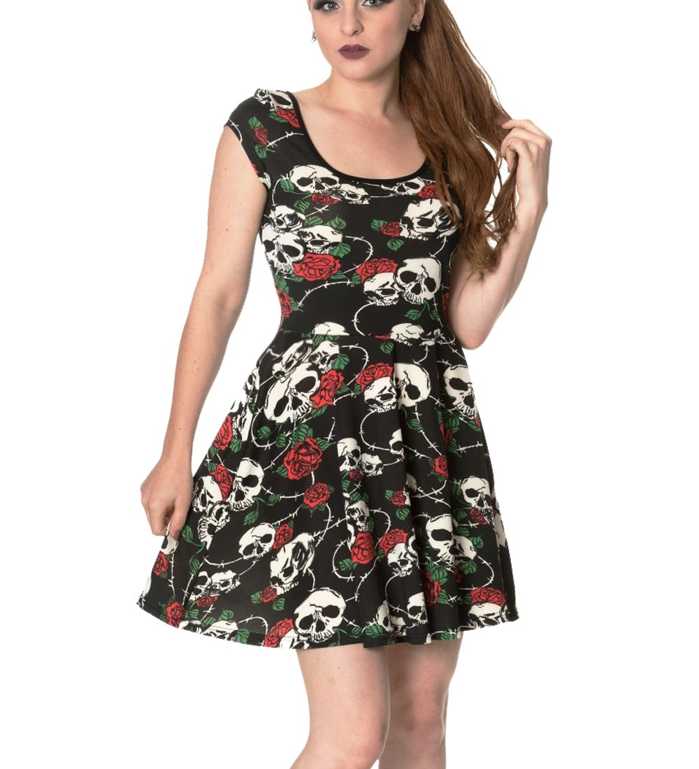 banned clothing mini gothic skater dress green with envy