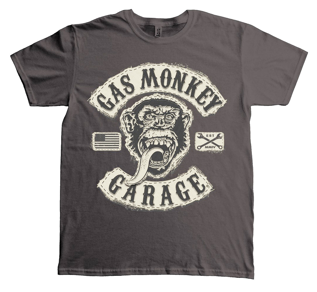 Official T Shirt GMG Gas Monkey Garage Grey PATCH Logo All Sizes