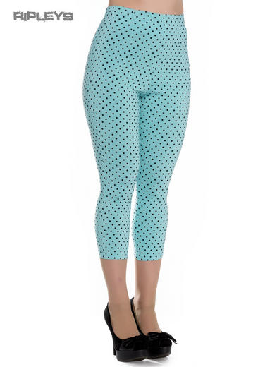 Hell Bunny 50s Pedal Pushers Dots KAY Capris Capri Trousers Aqua Blue All Sizes