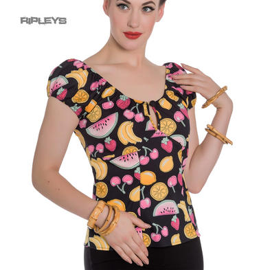 Hell Bunny Shirt Gypsy 50s Top CARMEN Melissa Summer Fruits Black All Sizes