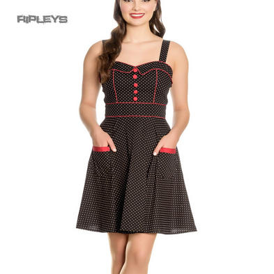 Hell Bunny Rockabilly Mini Dress Pin Up VANITY Polka Dot BLACK Red All Sizes
