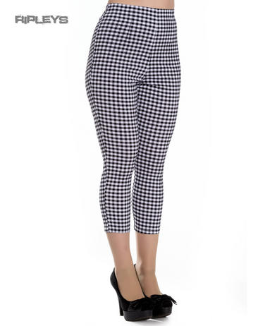 Hell Bunny Vintage 50s White/Black Gingham JUDY Capris Capri Trousers All Sizes