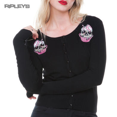 JAWBREAKER Goth Black Cardigan Top Pink Zombie CUPCAKE Skull All Sizes