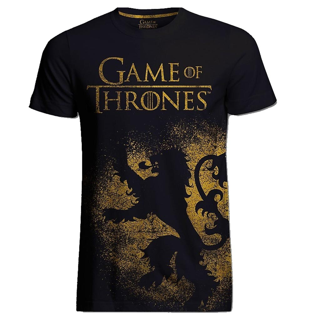 Official t shirt game of thrones distressed lion jumbo for Game t shirts uk