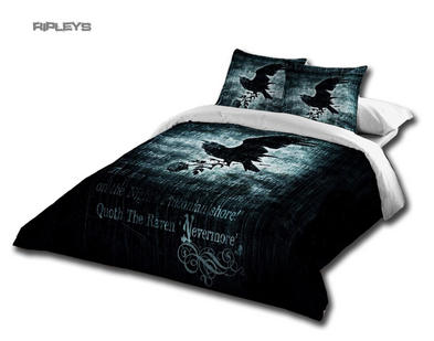 Alchemy Gothic Black BEDDING Double Duvet & UK Pillowcases NEVERMORE Crow