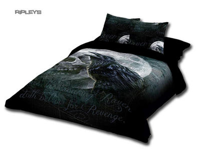 Alchemy Gothic Black BEDDING Double Duvet & UK Pillowcases RAVEN CURSE Moon