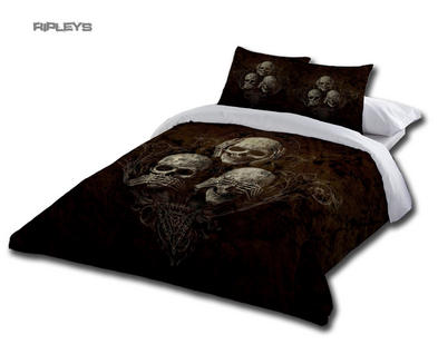 Alchemy Gothic Black BEDDING Double Duvet & UK Pillowcases NO EVIL Skulls