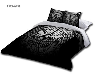 Alchemy Gothic Black BEDDING Double Duvet & UK Pillowcases ABANDON Hope Skull