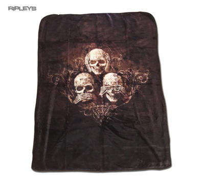 Alchemy Gothic Luxury Thick Fleece Throw Blanket Skulls NO EVIL  Single