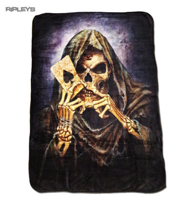 Alchemy Gothic Luxury Thick Fleece Throw Blanket Skeleton REAPER Card Single