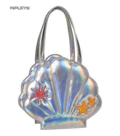 BANNED Clothing Mermaid Shiny Clam ARIEL Shoulder Handbag Silver Pearl
