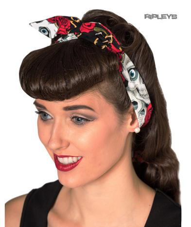 Banned Clothing 50s Rockabilly Goth Punk Hair Tie LAYNA Bandana Skulls Roses