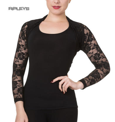 Banned Rockabilly Goth LACE ROSE BOLERO 50s Cardigan Top Shrug Black All Sizes