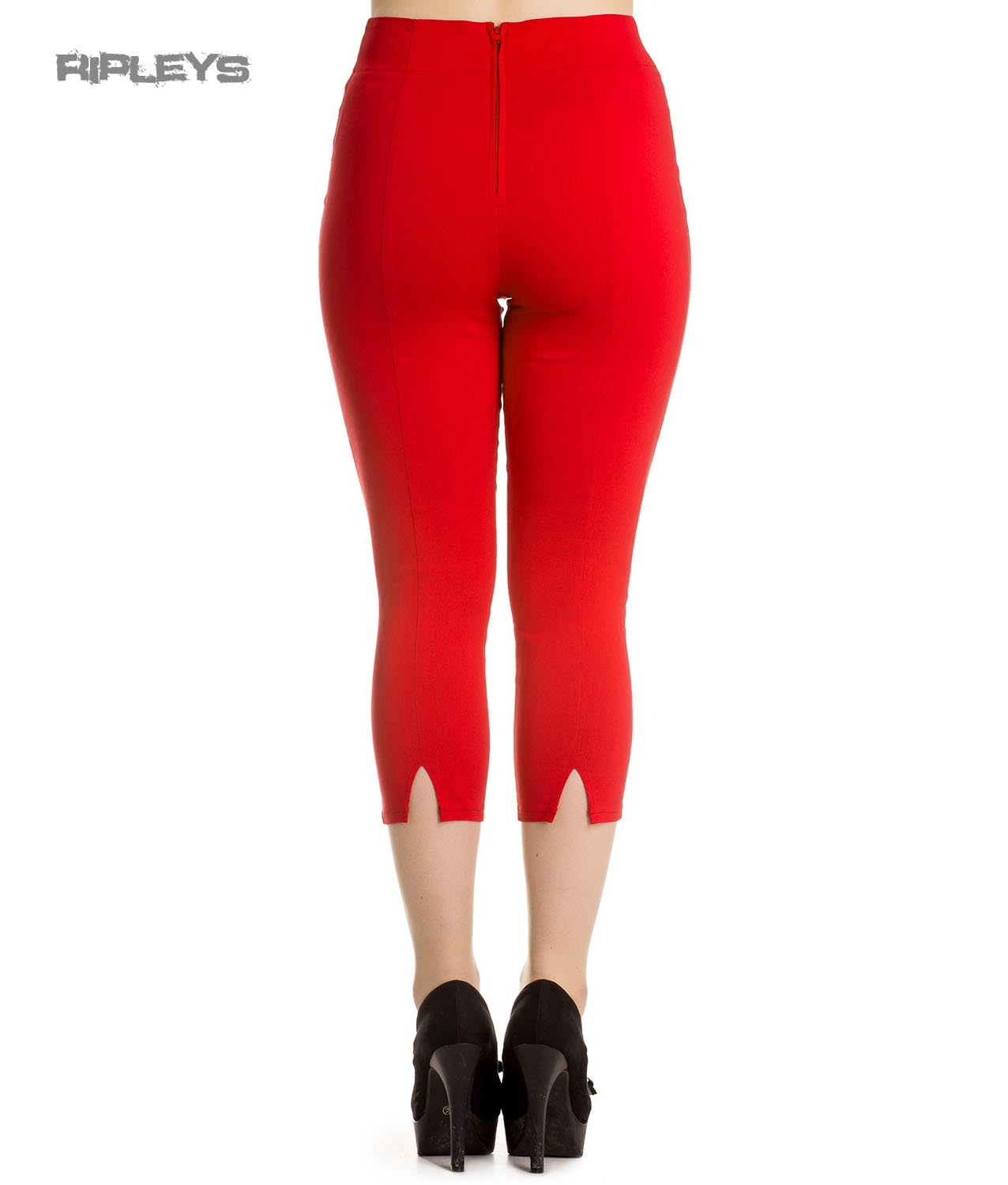 Hell Bunny 50s Rockabilly Pedal Pushers TINA Capris Capri Trousers Red All Sizes
