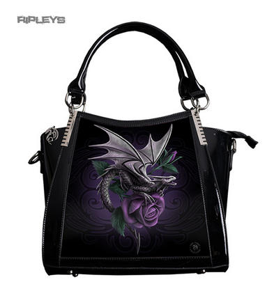 ANNE STOKES 3D Large Hand Bag Black PVC Goth Purple Rose 'Dragon Beauty'