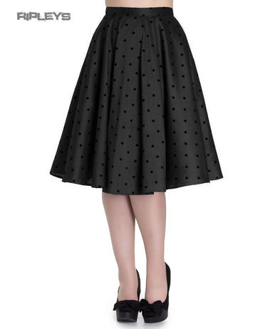 Hell Bunny 50s Pin Up Rockabilly Skirt TARA Polka Dot  Black All Sizes