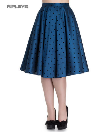 Hell Bunny 50s Pin Up Rockabilly Skirt TARA Polka Dot Teal Blue All Sizes