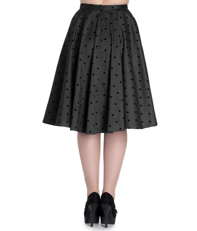 Hell-Bunny-50s-Pin-Up-Rockabilly-Skirt-TARA-Polka-Dot-Black-All-Sizes