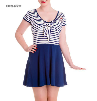 Hell Bunny Mini Skater Dress MARISSA Anchor White Navy Blue Stripe All Sizes