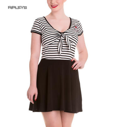 Hell Bunny Mini Skater Dress MARISSA Anchor White Black Stripe All Sizes