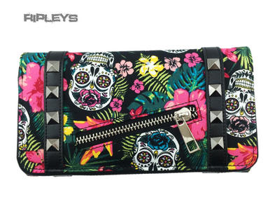 BANNED Clothing Wallet Purse HIBISCUS Sugar Skulls Pink Flowers