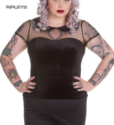 Hell Bunny Spin Doctor Black Vampire Goth Mesh Top NINA Blouse All Sizes